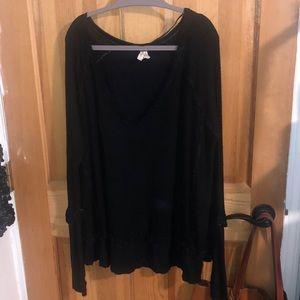 Black blouse boho top